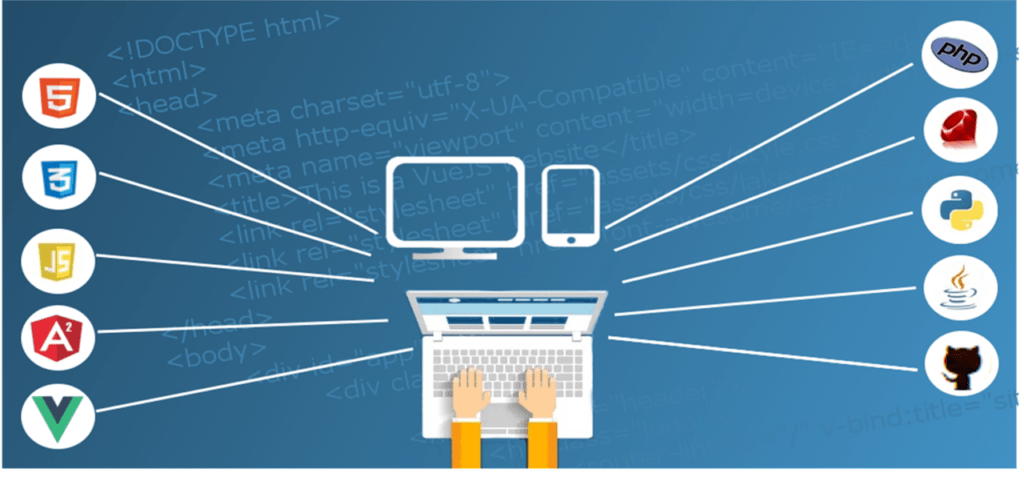 Symbols of SEO points to consider when developing a website surrounding a person working on a laptop.
