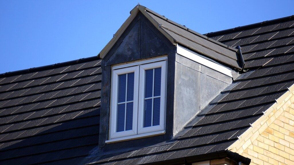 window on the black house roof