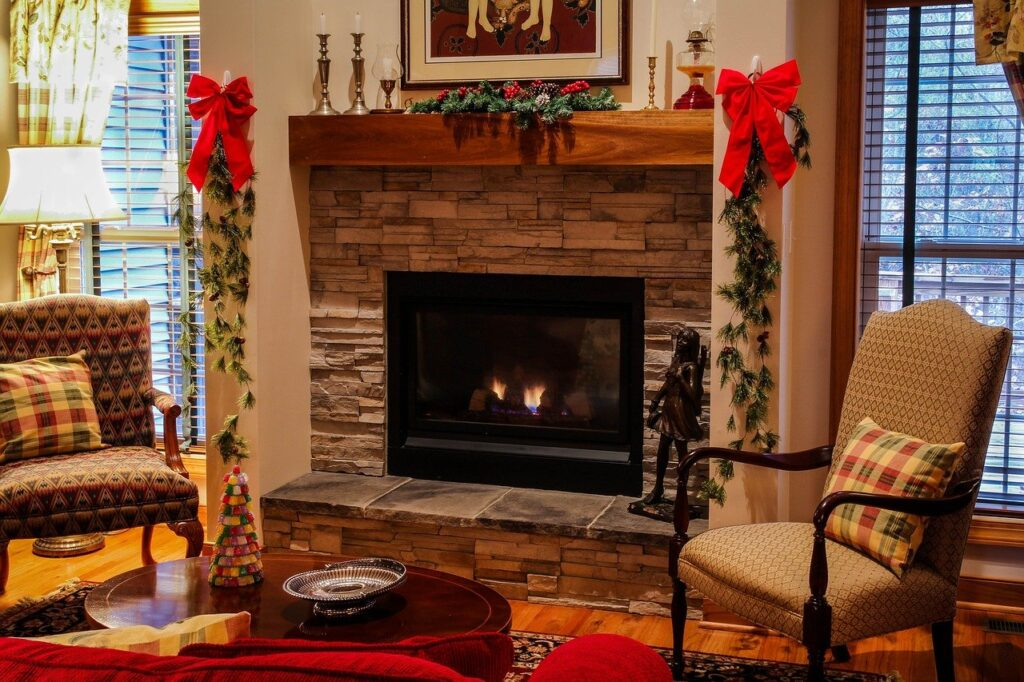 fireplace in the living room with Christmas decoration